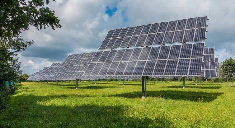 Panele słoneczne, fotowoltaiczne na trackerach, farma słoneczna